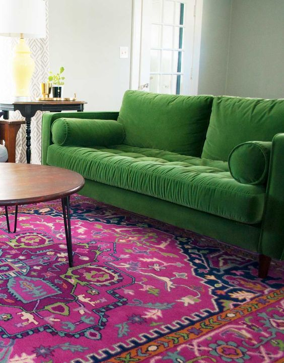 Green Velvet Sofa Pink Rug