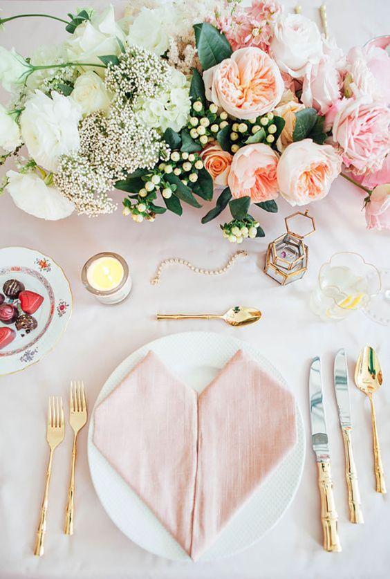 feminine gold flatware pink table setting