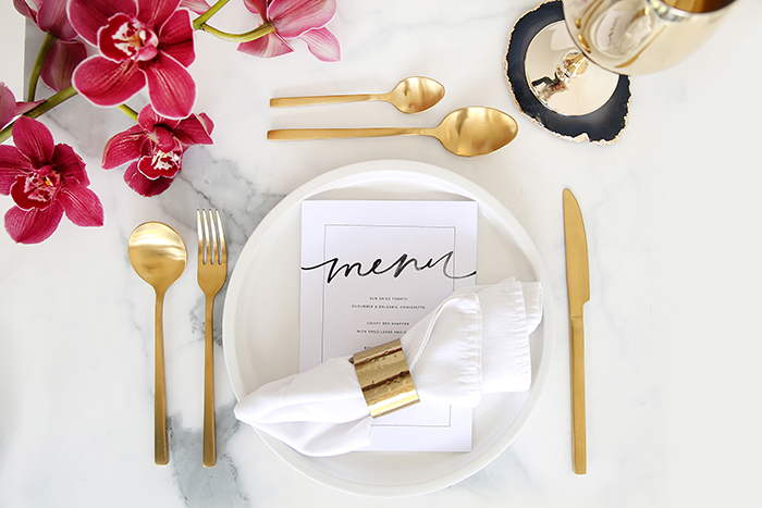 gold flatware table setting trend marble