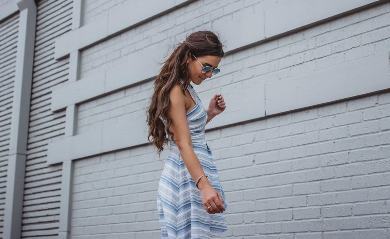 Amanda Uprichard Blue Striped Dress 2