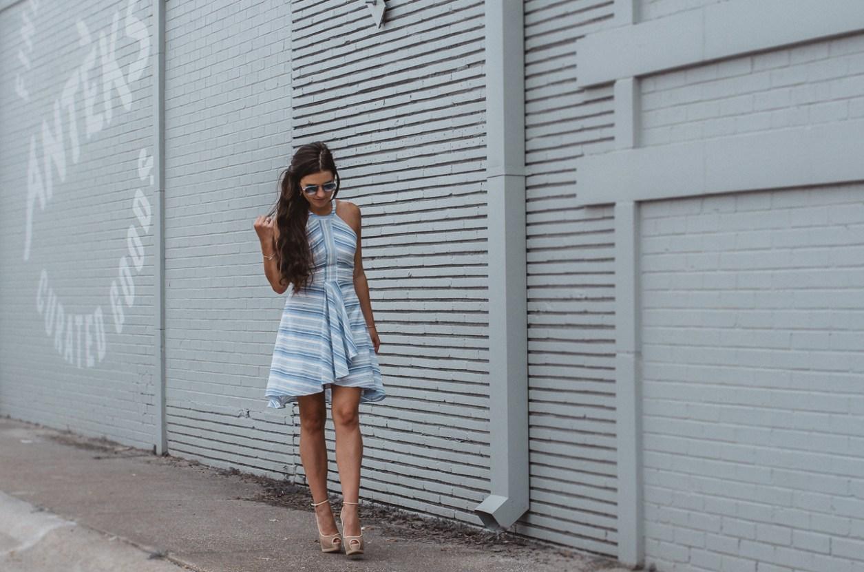 Amanda Uprichard Blue Striped Dress