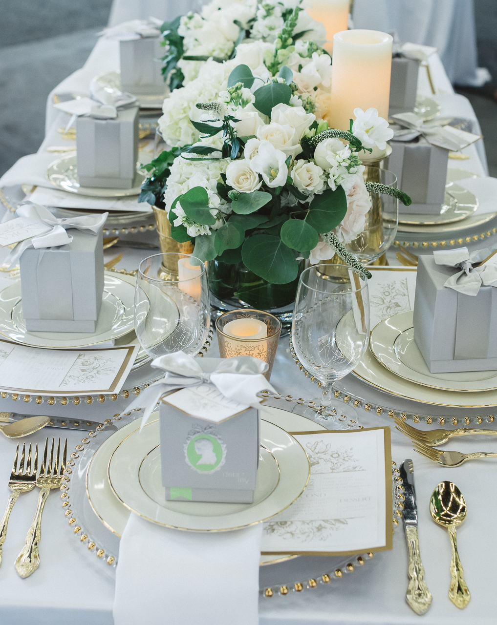 White Floral Bridal Shower Table Setting