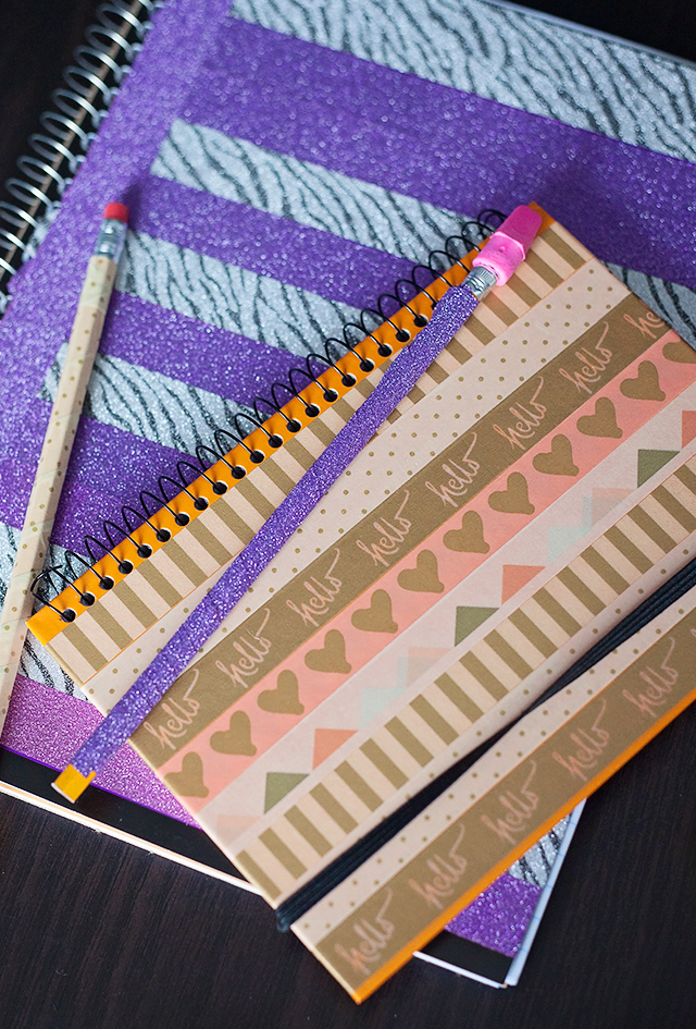 DIY Washi Tape Notebook & Pencils