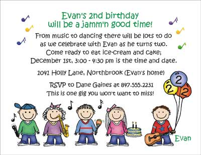 Music Theme - Personalized Party Invitations by The Personal Note - birthday invitation note