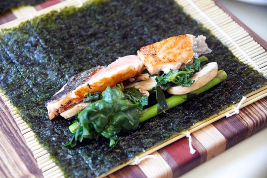 Seaweed Wrapped Seared Salmon Rolls
