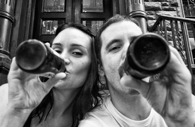 Jen and me beers on the stoop
