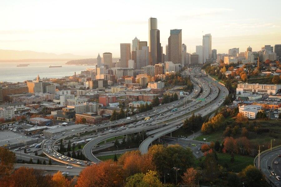 Seattle Washington In Fall City Night Wallpaper Seattle Skyline Photography Locations