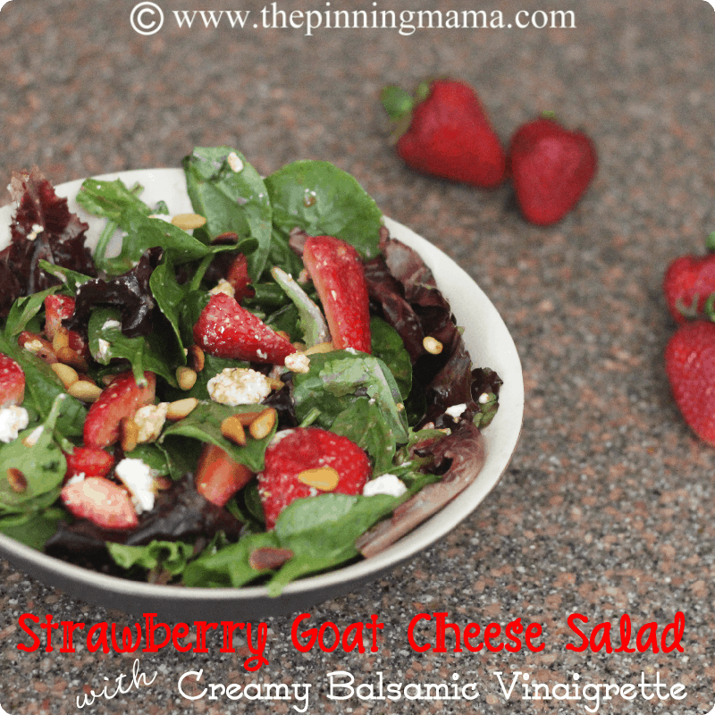 {Summer Salads} Strawberry Goat Cheese Salad with Creamy Balsamic Vinaigrette by www.thepinningmama.com