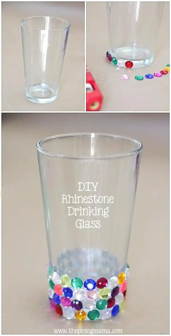 DIY Rhinestone drinking glass plus 12 other easy rhinestone projects!