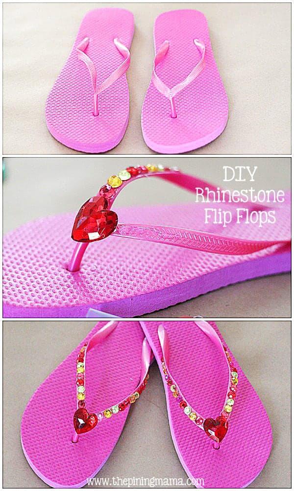 DIY Rhinestone flip flops plus 12 other easy rhinestone projects!