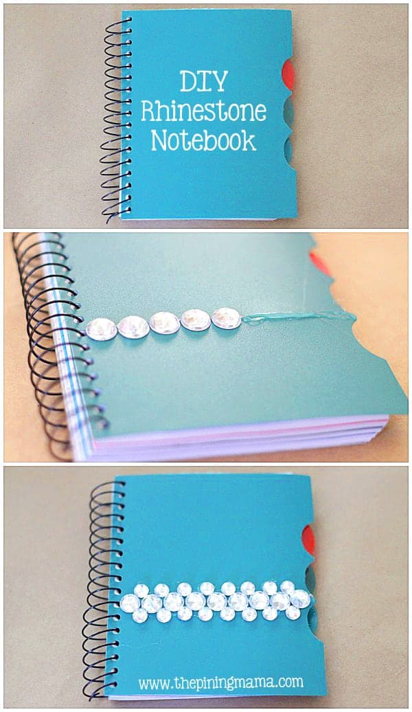 DIY Rhinestone notebook plus 12 other easy rhinestone projects!