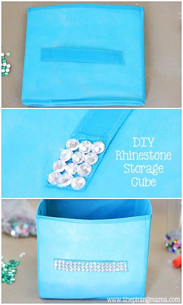 DIY Rhinestone Storage Cube plus 12 other easy rhinestone projects!