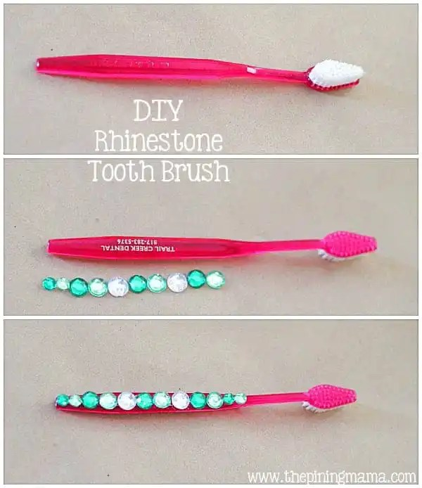 DIY Rhinestone tooth brush plus 12 other easy rhinestone projects!