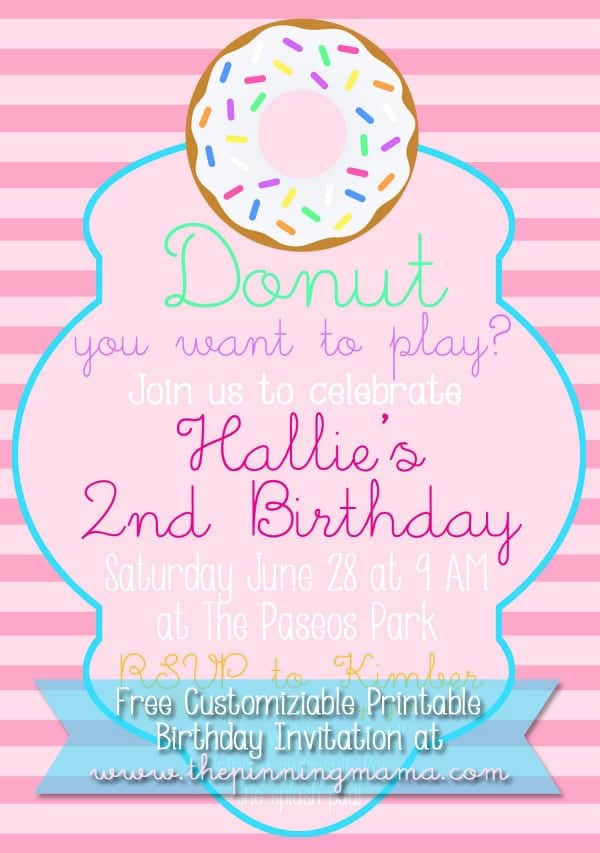 Free Customizable Donut Birthday Party Invitation \u2022 The Pinning Mama