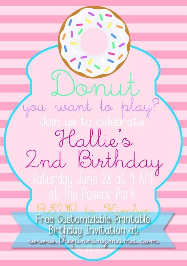 Free Customizable Donut Birthday Party Invitation \u2022 The Pinning Mama