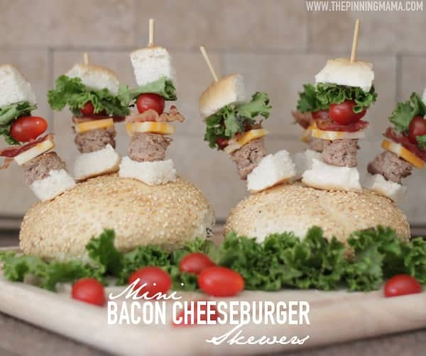 So fun for game day!  Mini Bacon Cheeseburger Skewers!