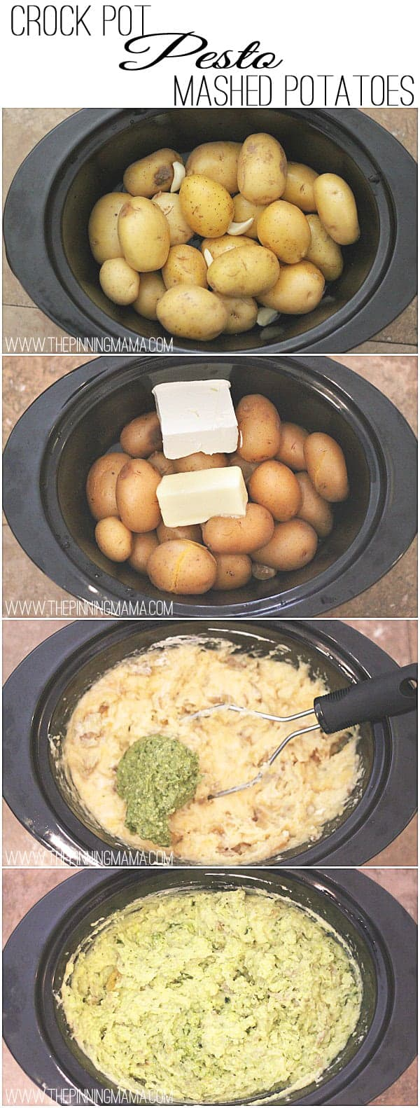 Only 6 ingredients and 4 steps to amazingly delicious Pesto Mashed Potatoes made in your crock pot! Recipe via thepinningmama.com.