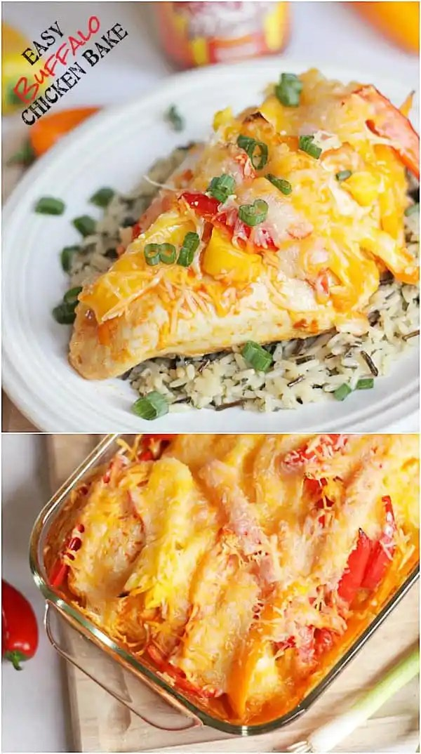 I've died and gone to heaven! This looks delicious! Easy Buffalo Chicken Bake via thepinningmama.com