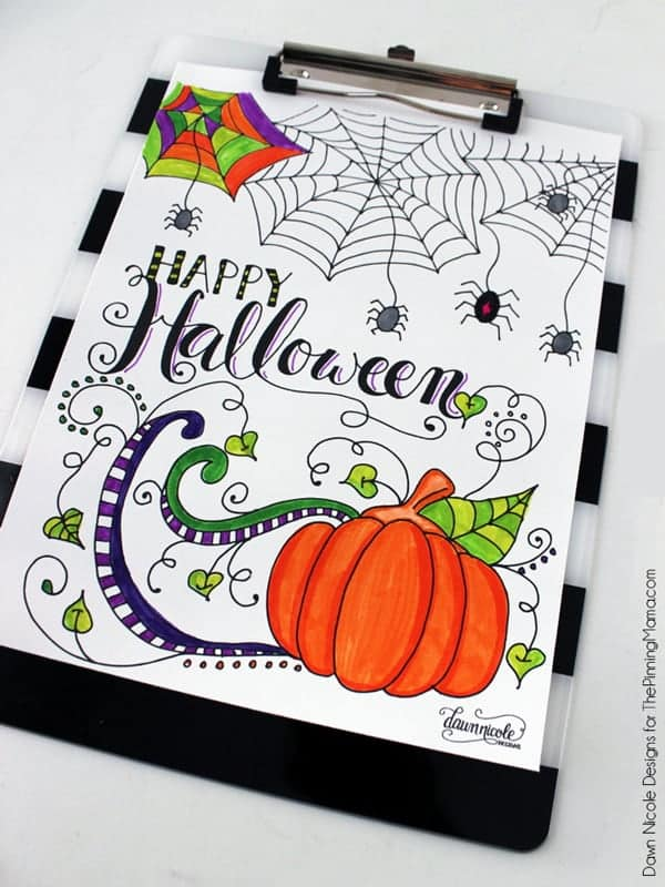 Happy Halloween Coloring Page \u2022 The Pinning Mama