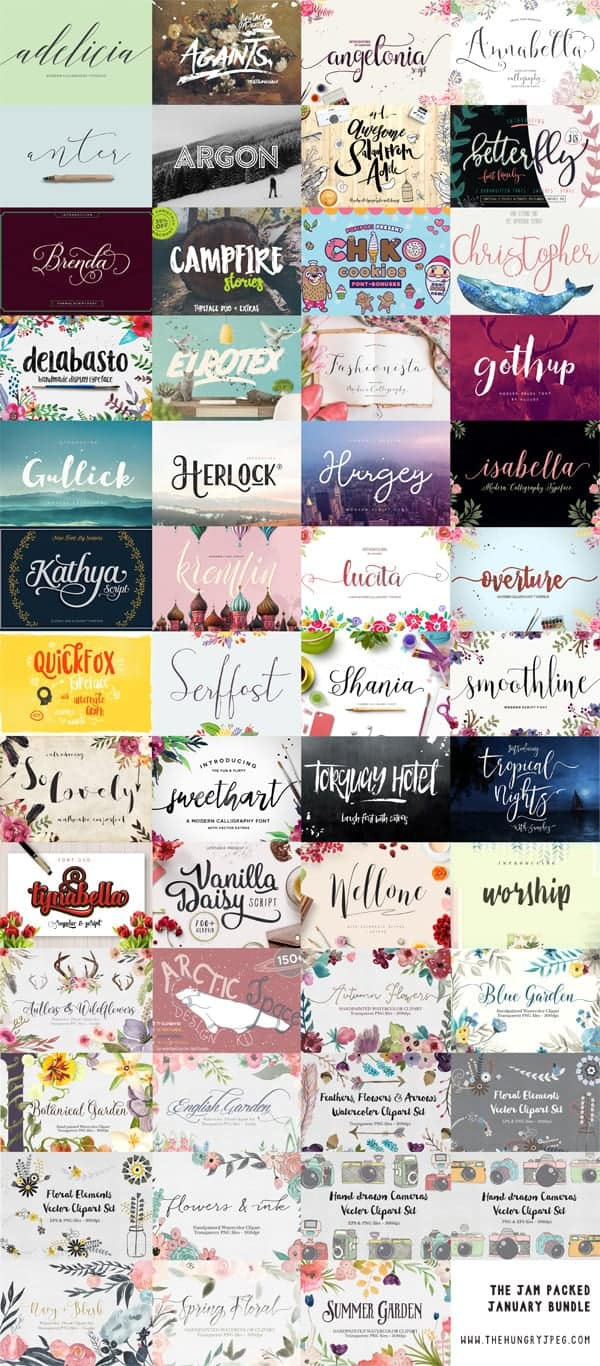 January Font Bundle _ Commercial License Fonts for pennies each!
