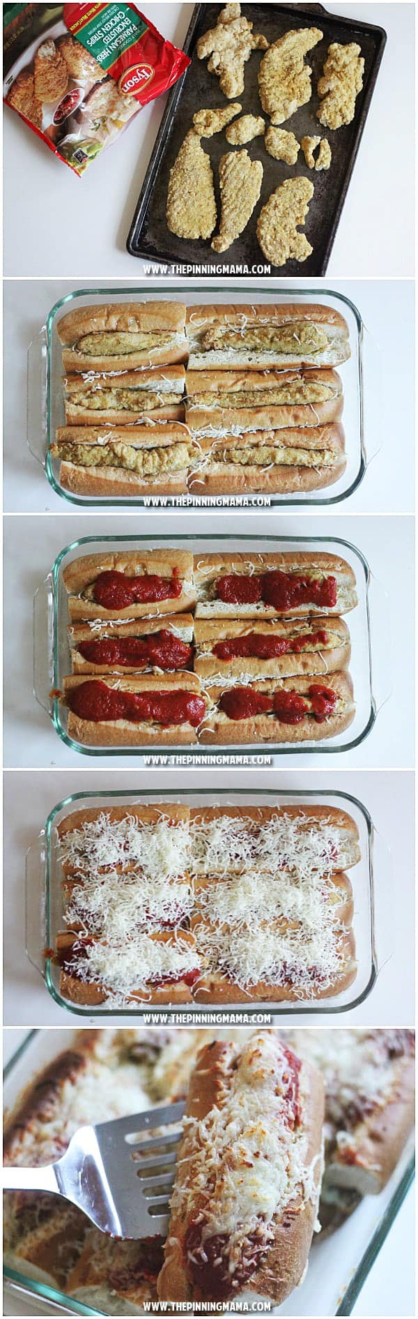 CHICKEN PARM SUB BAKE recipe- Such a great idea for a party! Just minutes of prep for enough to feed a crowd! I think this is perfect for our Super Bowl Party!
