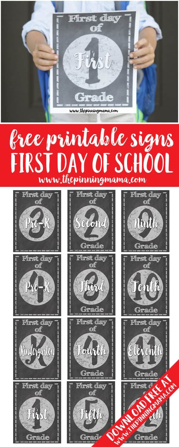 These are so CUTE!! Free Chalkboard Printable First Day of School Signs - Pre-K through 12th grade! Use these for the cutest first day of school photos!