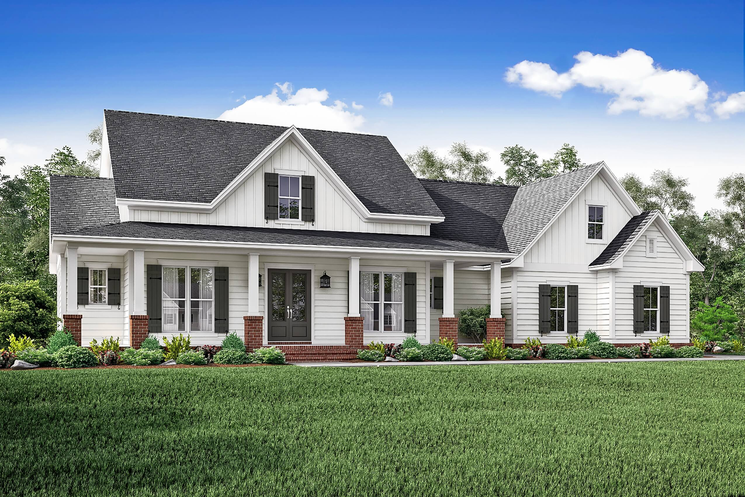 142 1166 front elevation of country home plan theplancollection house plan 142 1166