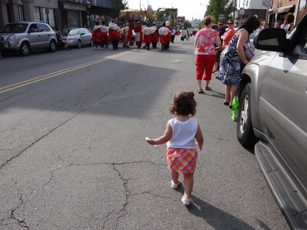 My daughter chasing after her Vavô... she's still learning about processions!