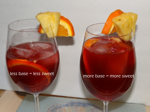 Here is where you can really customize the drink on the spot.  I like my drinks a little less sweet, so I allow more room for sparkling water.  My husband enjoys his with a bit more sweetness, so his (on the right) is filled a bit more to allow for less sparkling water.