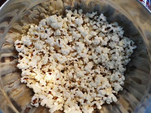 Prepare 12 cups of plain popcorn.  I did it over the stove with kernals... You might also want to try a plain bag of microwave popcorn... well several bags.