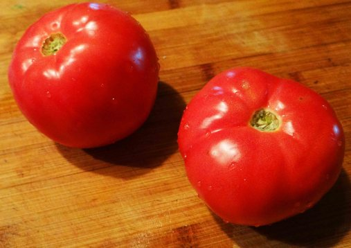 I am using two fresh from the garden, ripe tomatoes.  Any type of tomato will do here.  Whatever you have on hand is fine.