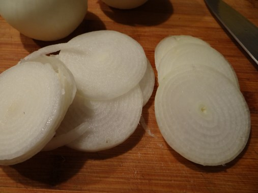 Start by slicing some onions, I like a varying slice, some thick some super thin.