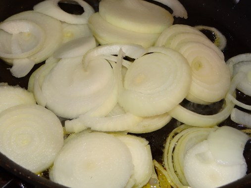 Add onions to a hot pan with olive oil... Saute over medium heat until tender.