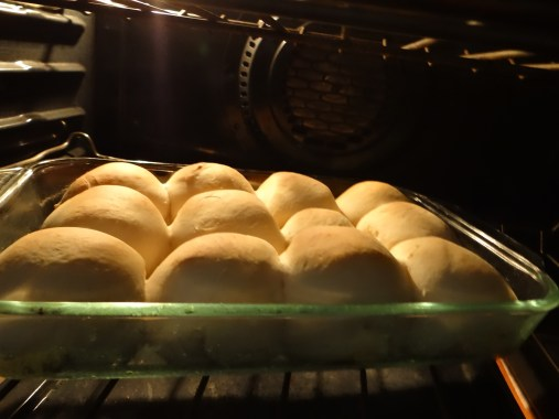 Pop rolls in the oven and bake.