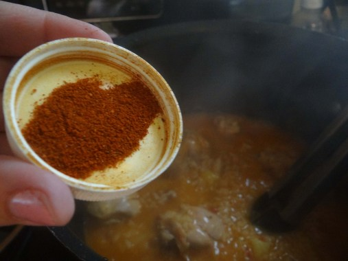 Add in Portuguese All Spice.  If you don't have this handy, add in about a tsp. of sweet paprika. (NOT SMOKY)