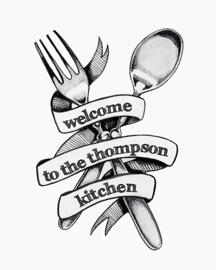 Personalized Kitchen Print :: Graphite Pencil Drawing | The Postman's Knock