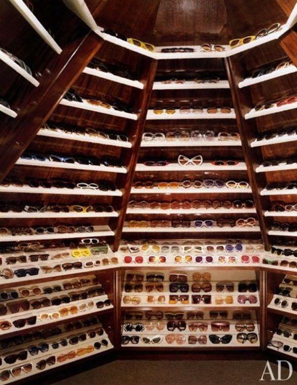 Elton John sunglasses closet via AD