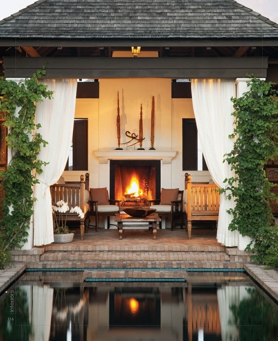 Fireplace by the Pool via Pinterest