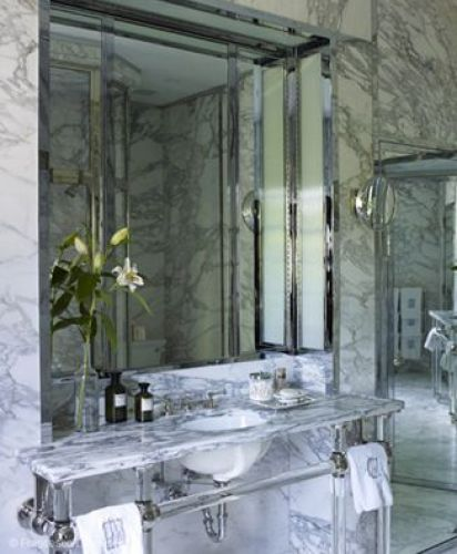 Mirrored and Marble Bathroom