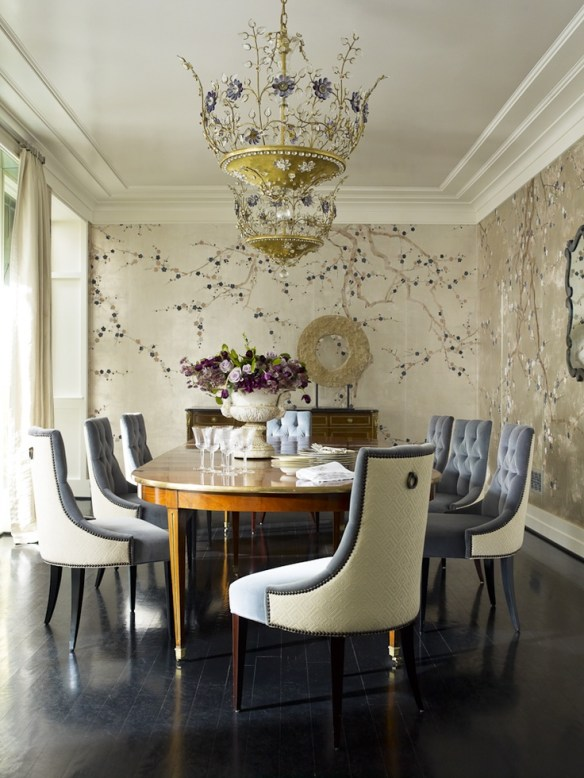 Dining room by Hillary Thomas with Gracie Wallpaper