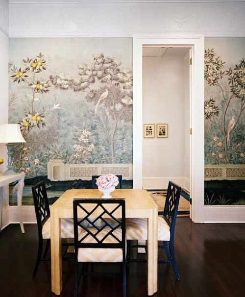 Gracie Wallpaper in the dining room via Lonny