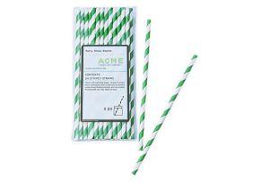 Green and White Striped Straws OKL