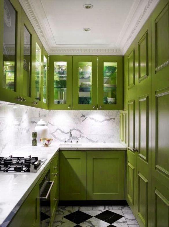 Green kitchen via home design love
