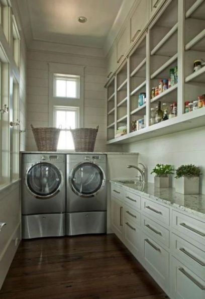Laundry Room with great shelving