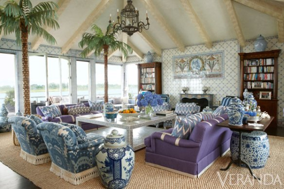 Living area with Blue and White in Kelli Ford's Southampton Home via Veranda