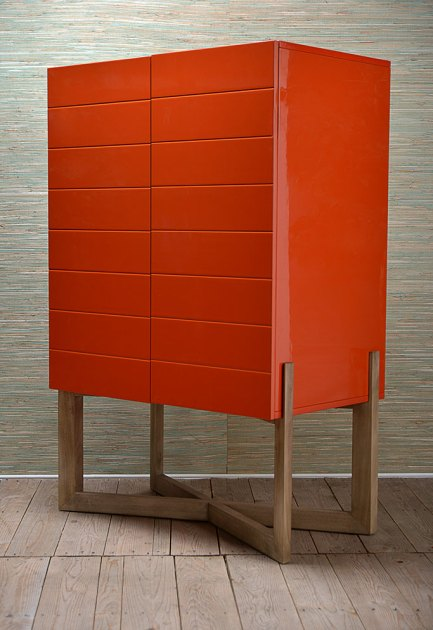 Mecox Orange Lacquer Bar Cabinet