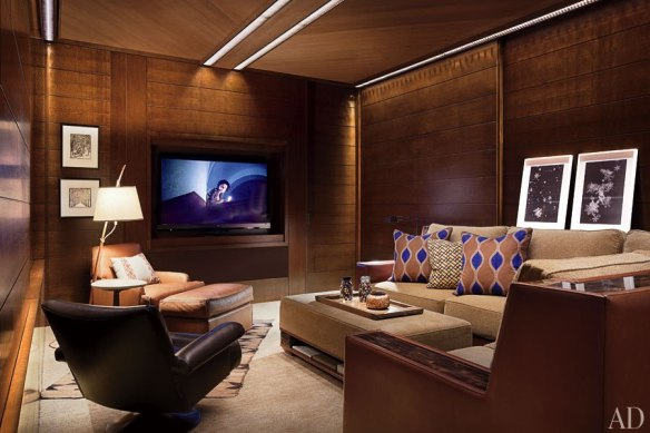 Media Room in Aspen Home by Studio Sofield