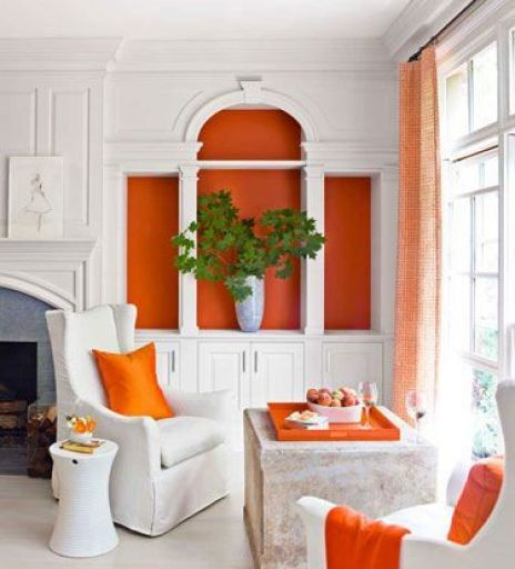 Orange cabinet linings