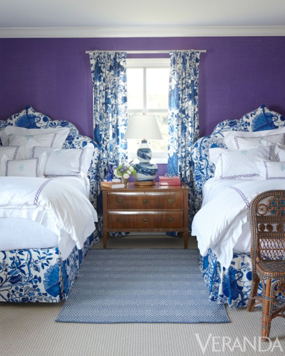 Purple and Blue Bedroom KK Southampton Home via Veranda