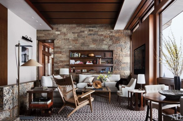 Stone Wall and Wood Ceiling in Aspen Home